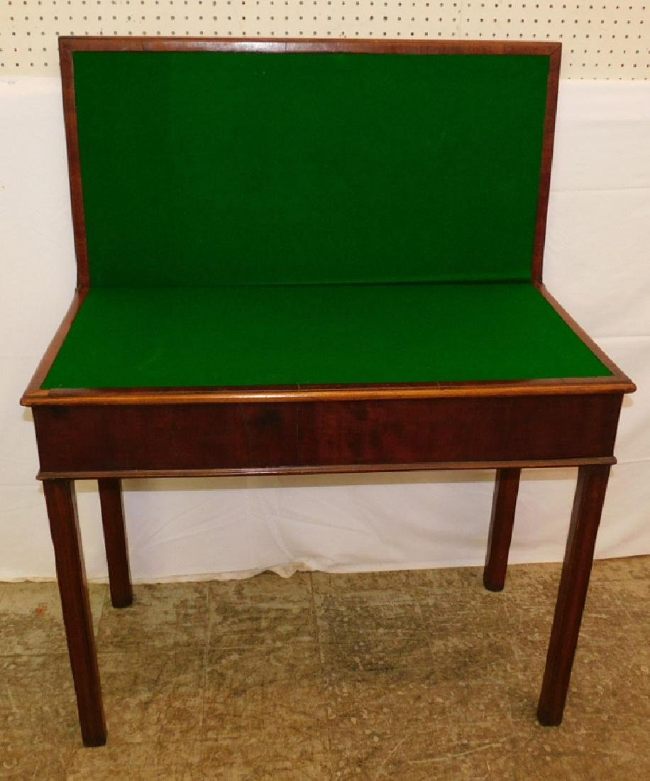 Mahog. fold over Chippendale game table - 3