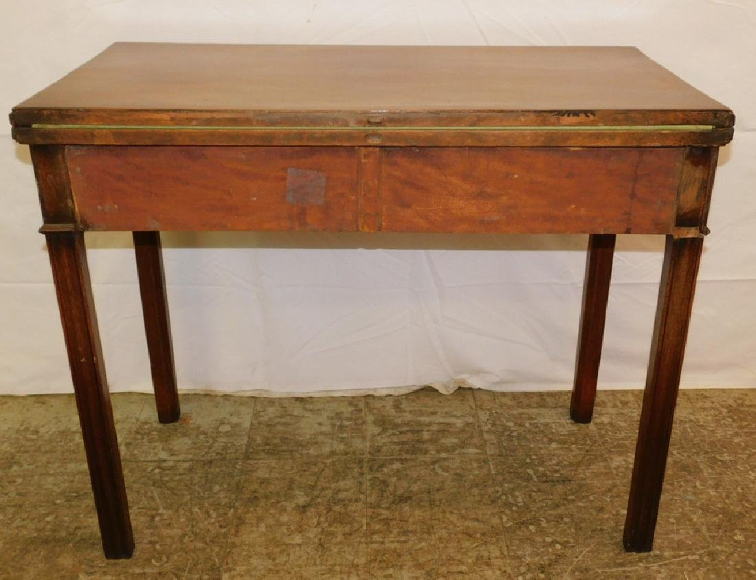 Mahog. fold over Chippendale game table - 4