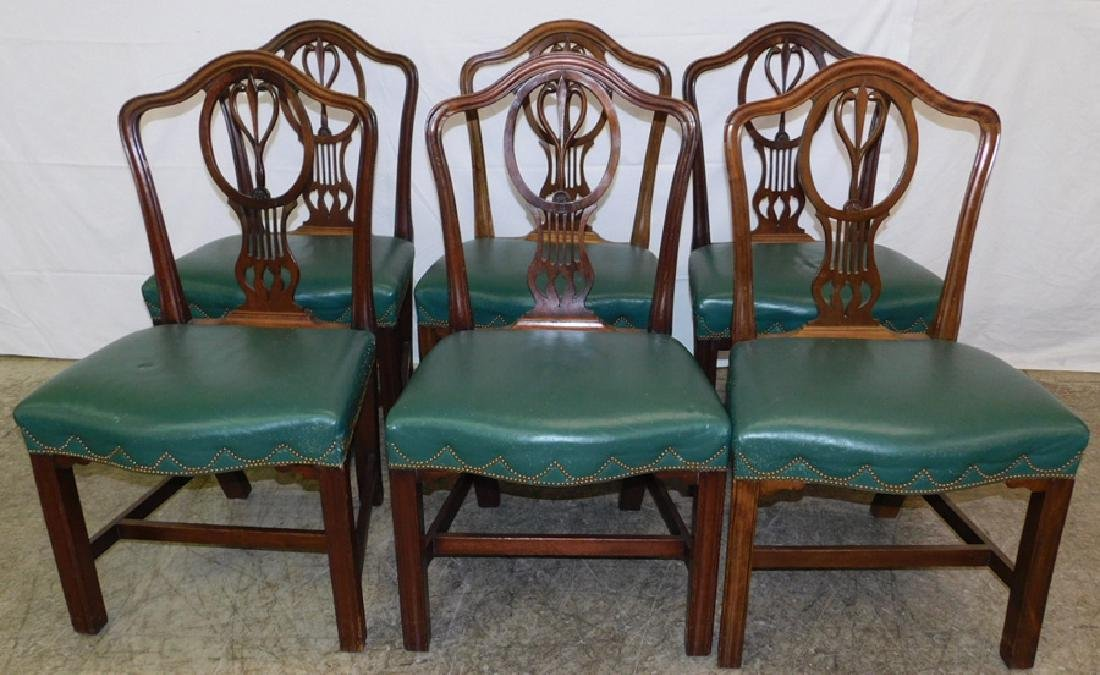 Set 6 ant.leather seat transition side chairs