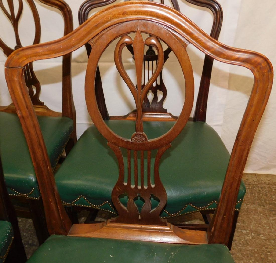 Set 6 ant.leather seat transition side chairs - 2