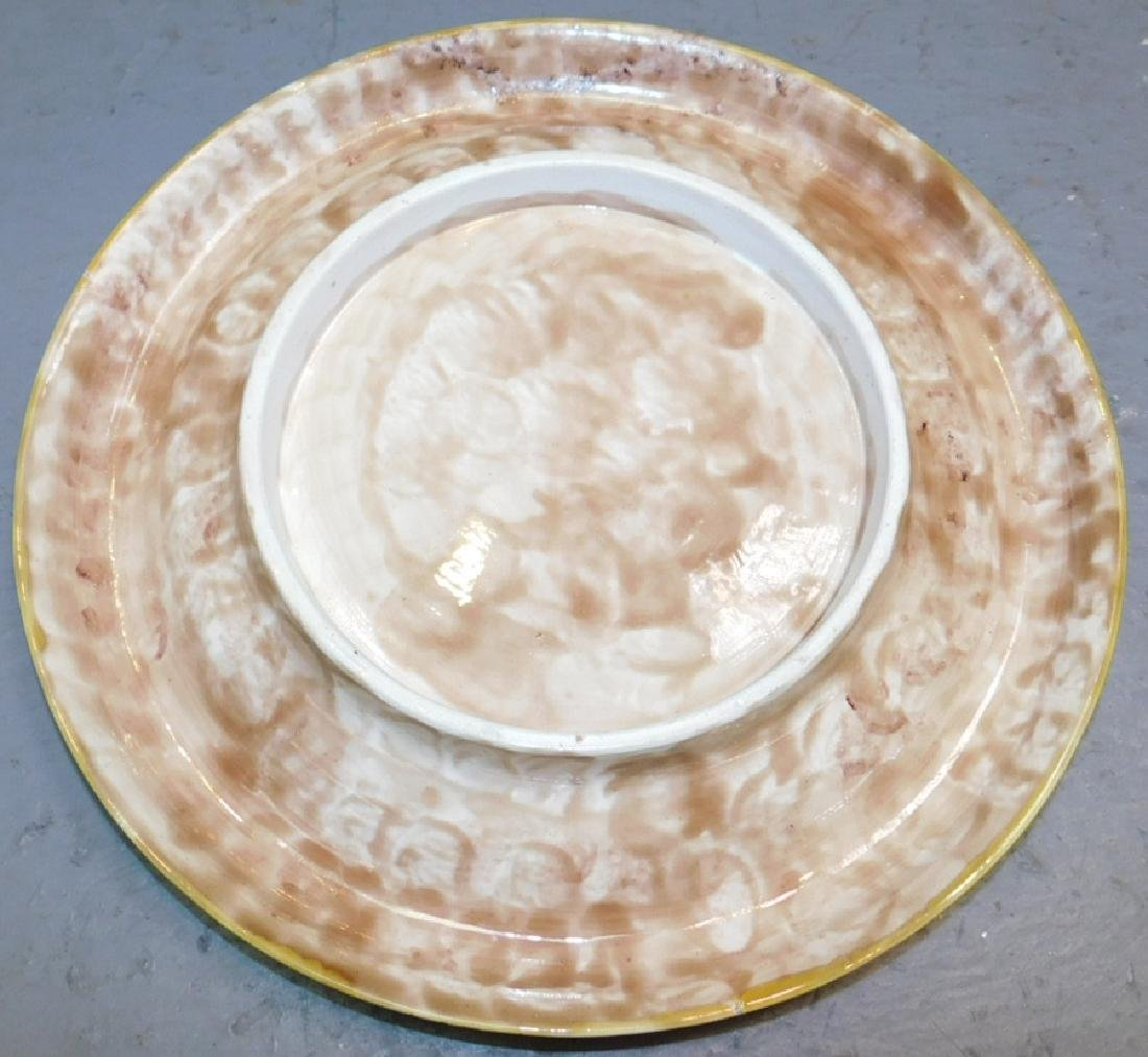 Majolica cake plate with lily pad decoration.  - 2