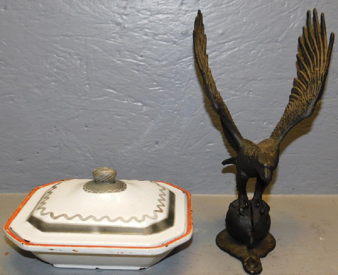 Cast iron eagle and cast iron covered bowl.