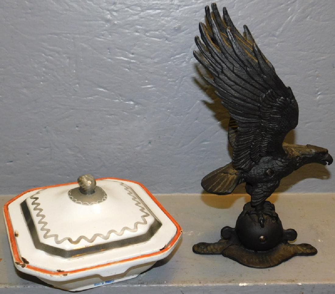 Cast iron eagle and cast iron covered bowl. - 2