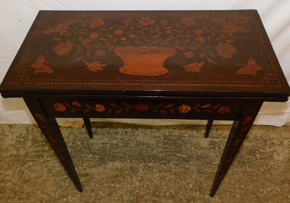Marquetry inlaid Dutch mahogany game table. - 2