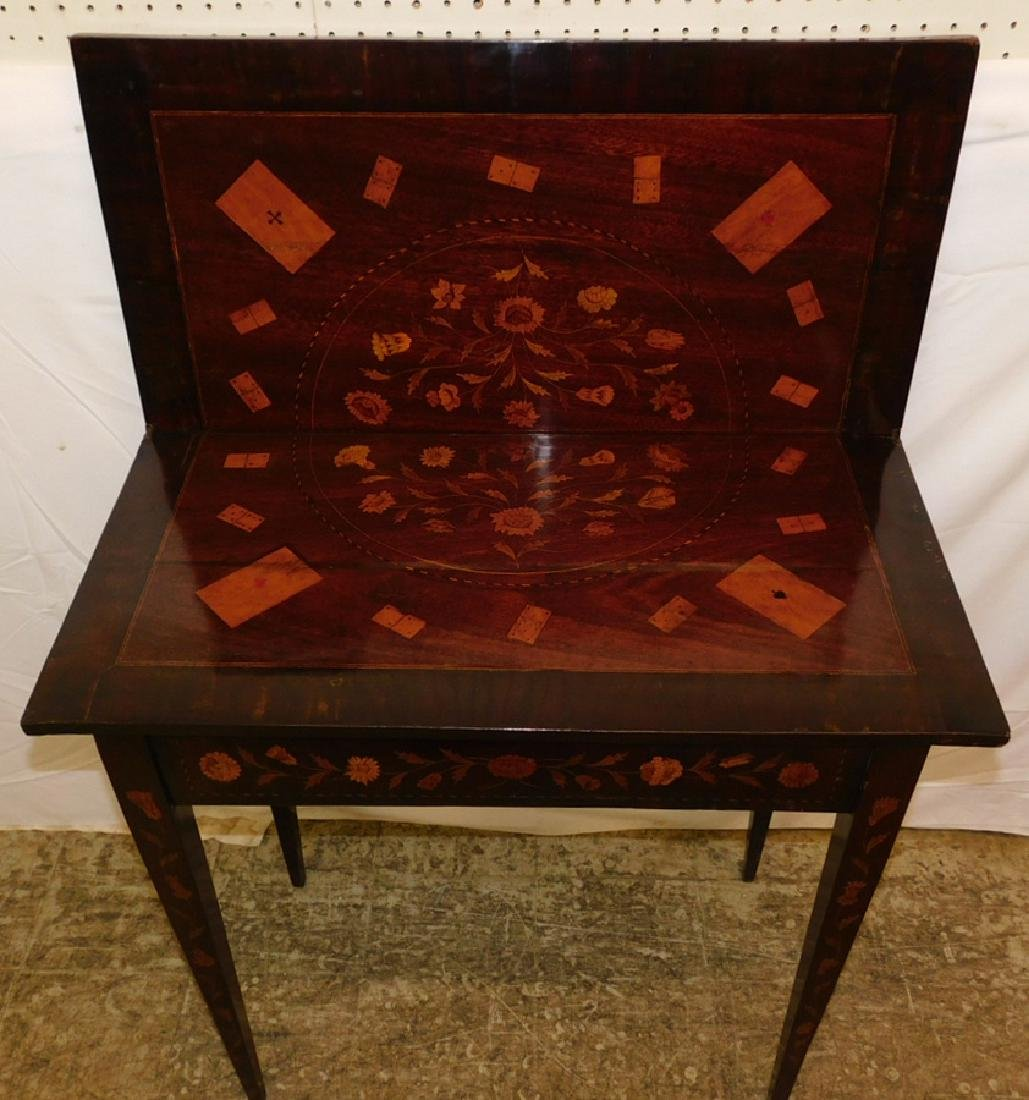 Marquetry inlaid Dutch mahogany game table. - 3