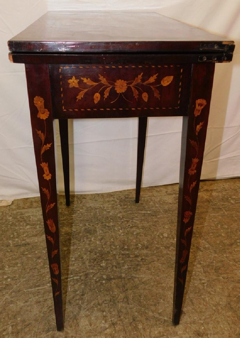 Marquetry inlaid Dutch mahogany game table. - 4