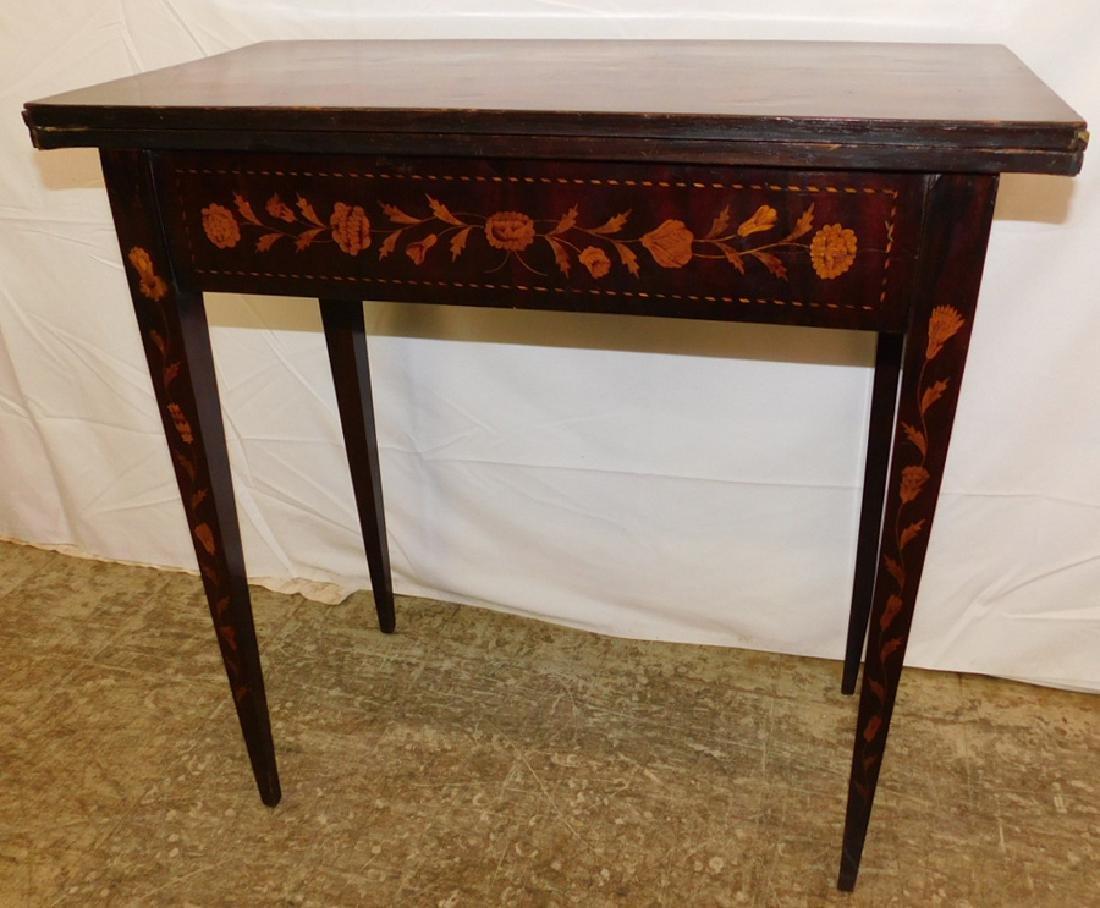 Marquetry inlaid Dutch mahogany game table. - 5