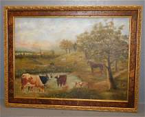 OOC pastoral scene signed H.A. Lamgesford.