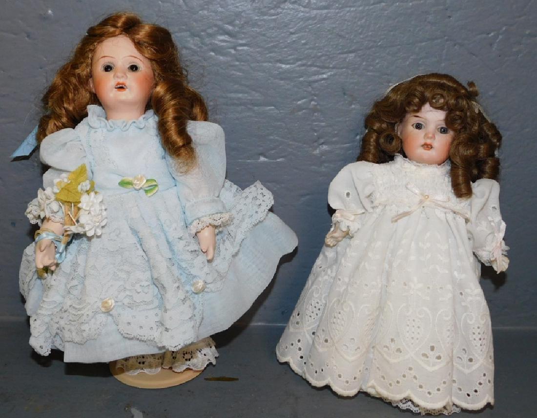 2 small German bisque head dolls.