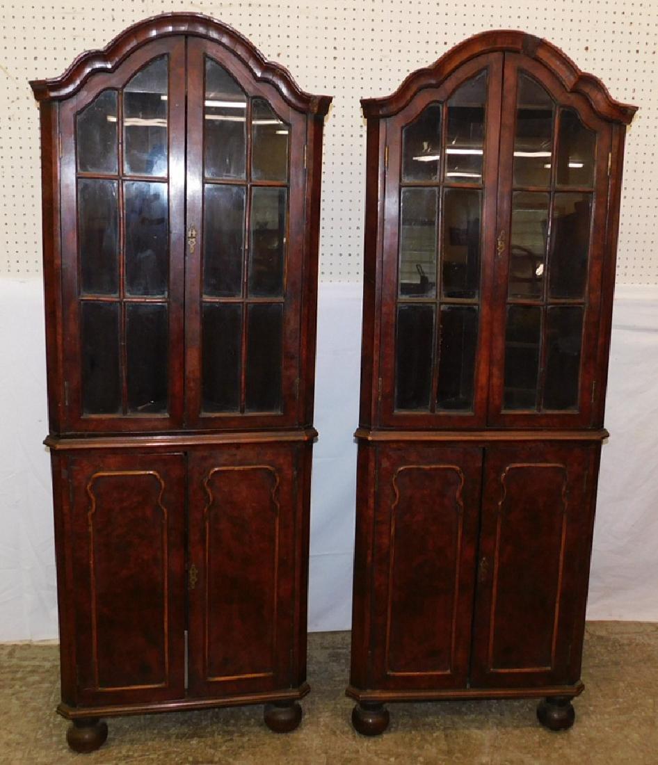 Pair of 19th C Queen Anne corner cupboards.