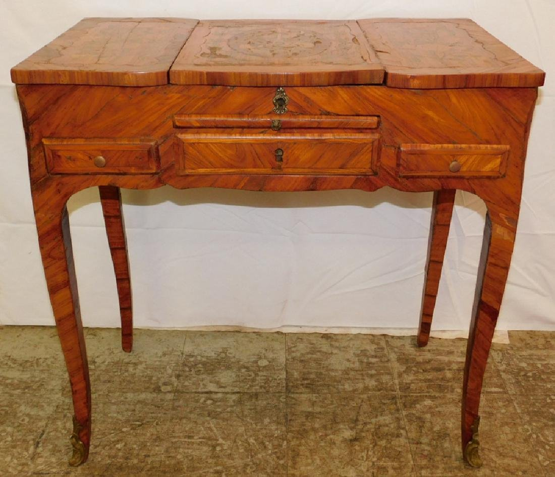 Marquetry inlaid French dressing table.