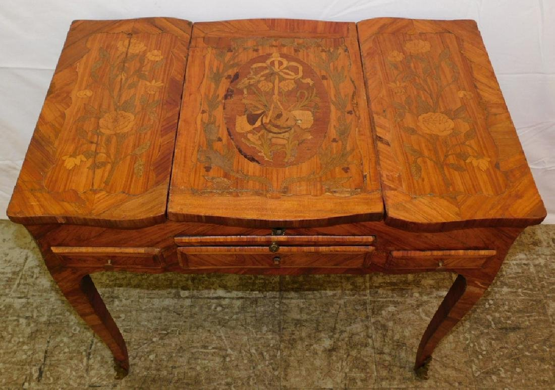 Marquetry inlaid French dressing table. - 2