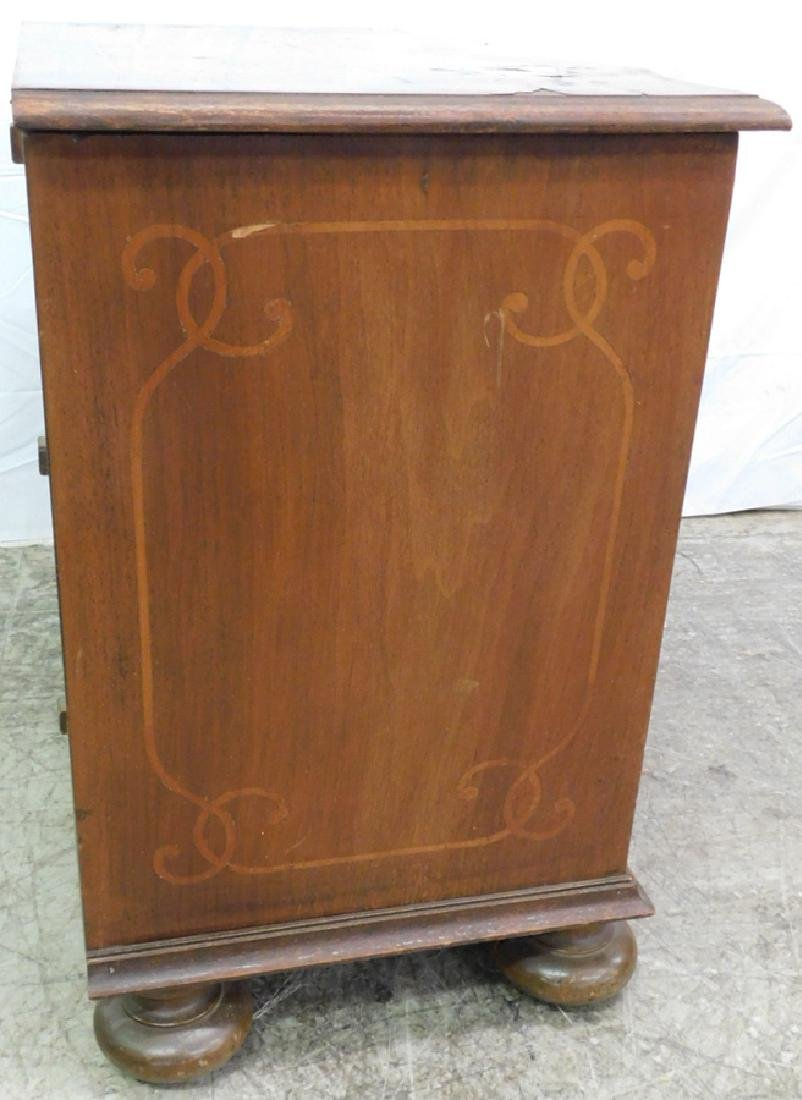 Marquetry inlaid 3 drawer walnut commode - 4