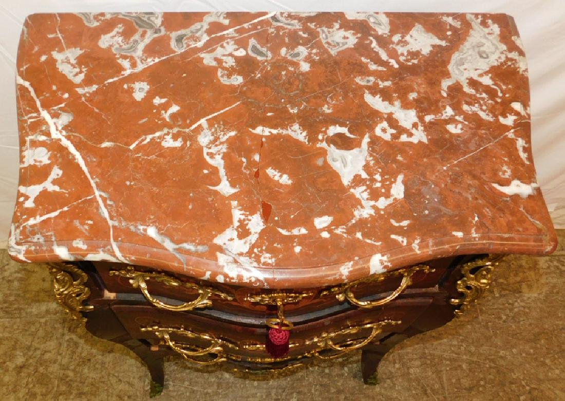 French marble top 3 drawer commode. - 2