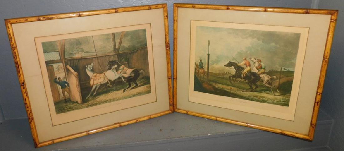 2 framed hunt prints with bamboo frames.