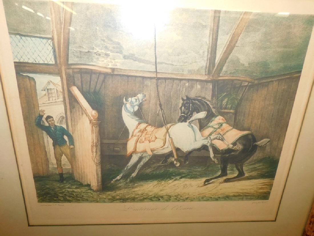 2 framed hunt prints with bamboo frames. - 3