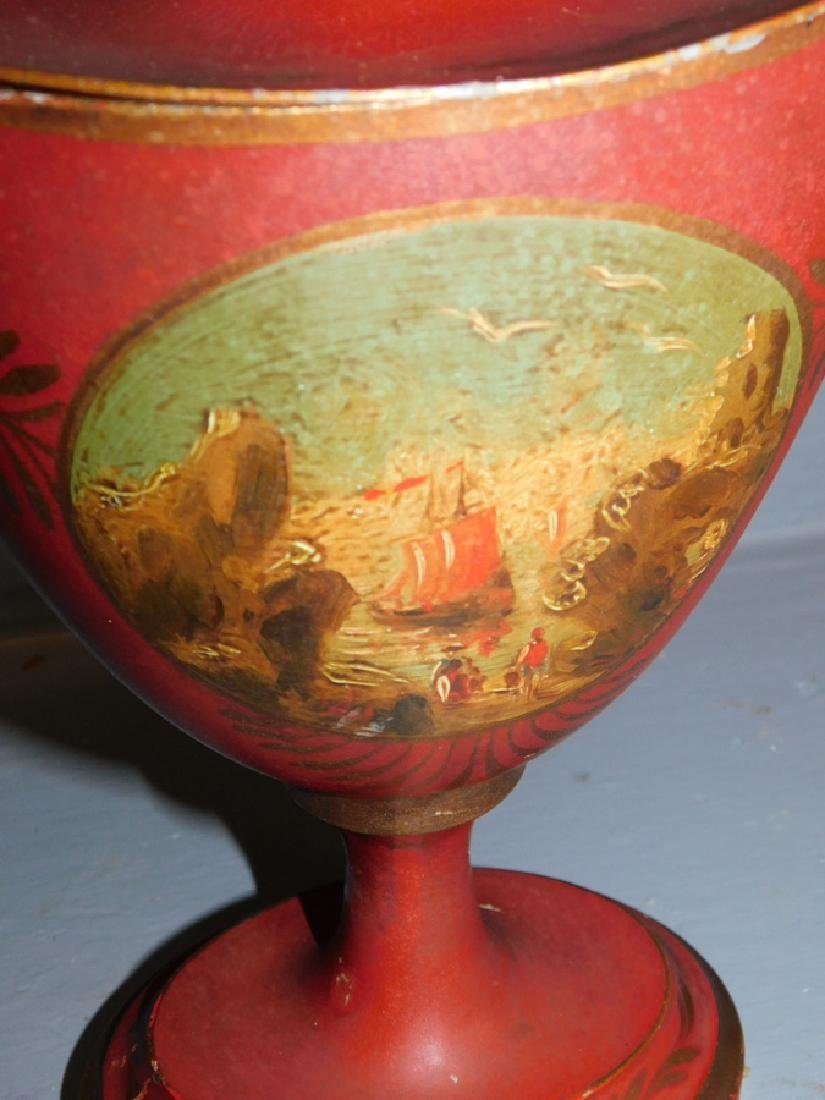 Tole Painted Chestnut Urn - 2