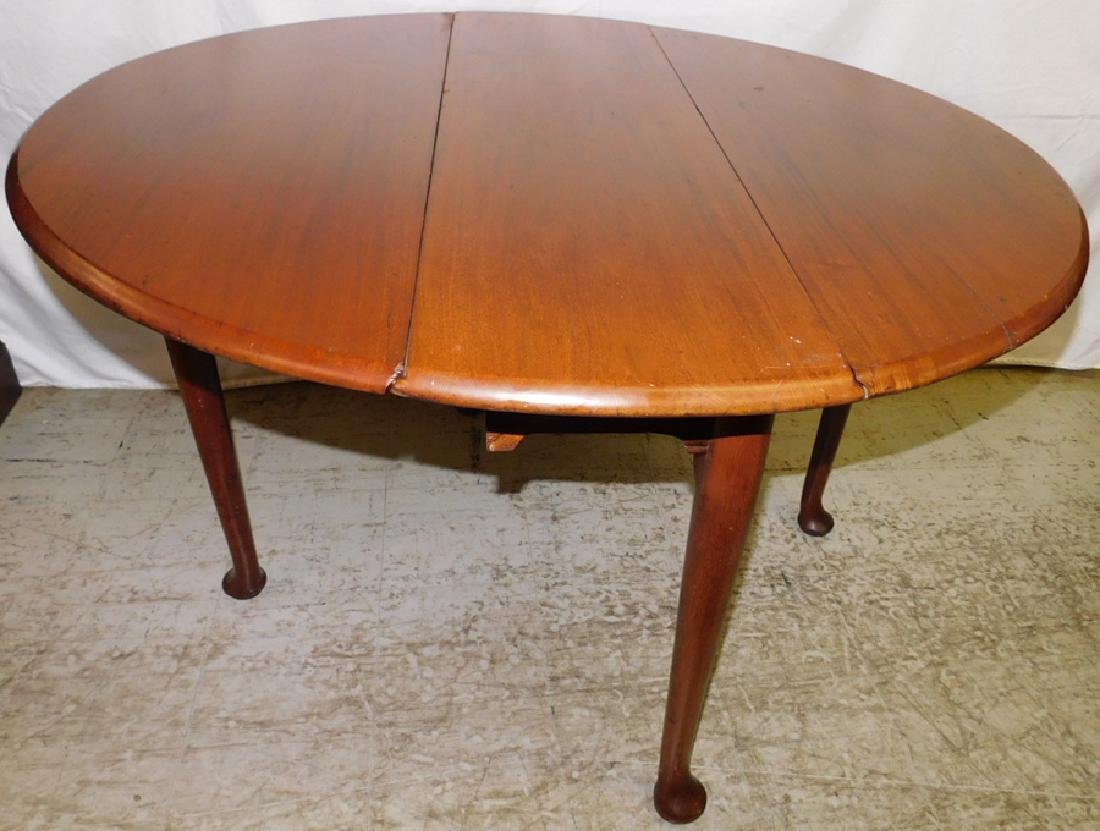 19th C Mahog Queen Anne Drop Leaf Table - 2