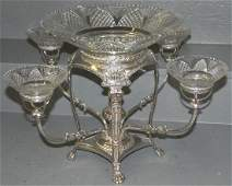 Sheffield Plate Epergne Orig Cut Glass Bowls