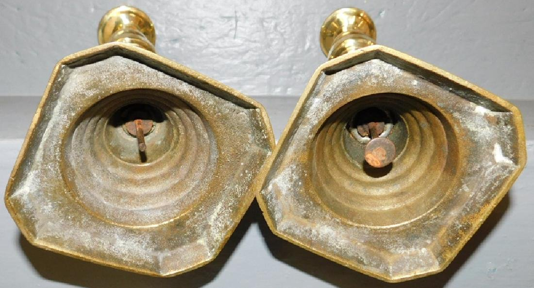 Pair Early Brass Pushup Candlesticks - 2
