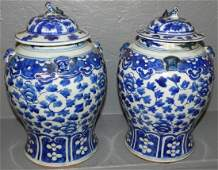Pair Of Export Blue  White Temple Jars