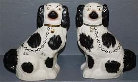 Pair Black  White Staffordshire Spaniels