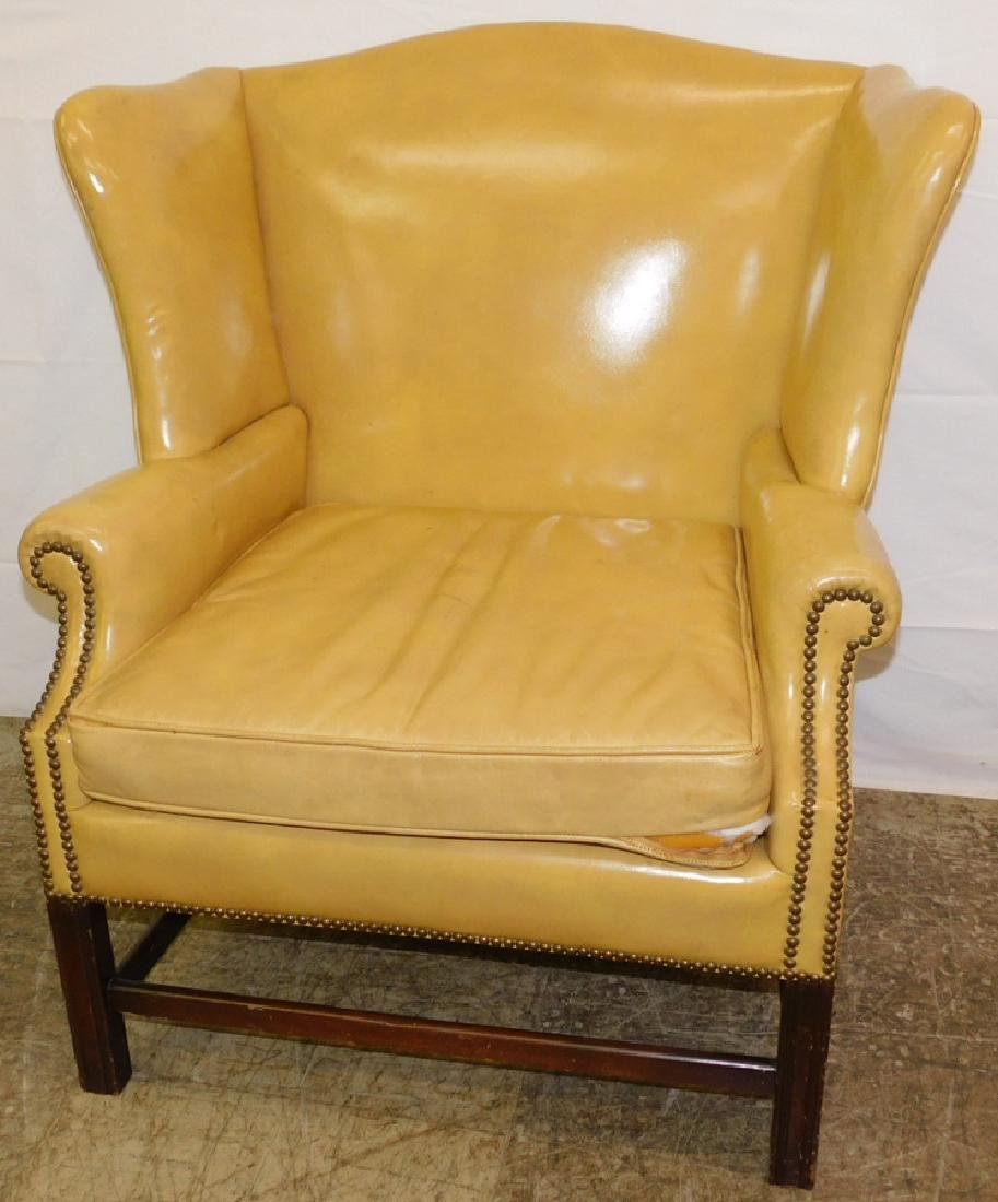 Chippendale Leather Wing Chair