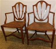 Pair Primitive Cherry Chippendale Armchairs