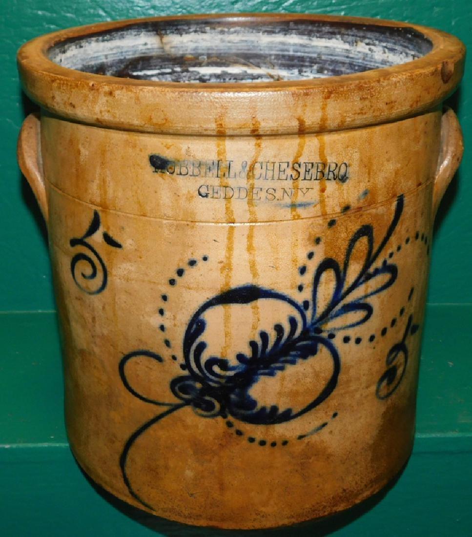 Early Blue Decorated Salt Glaze 5 Gallon Crock