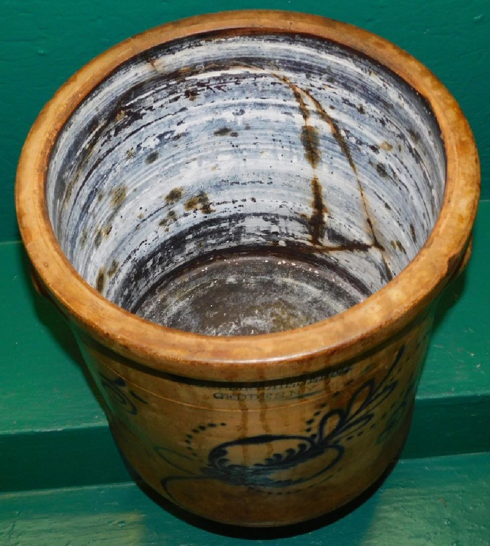 Early Blue Decorated Salt Glaze 5 Gallon Crock - 3
