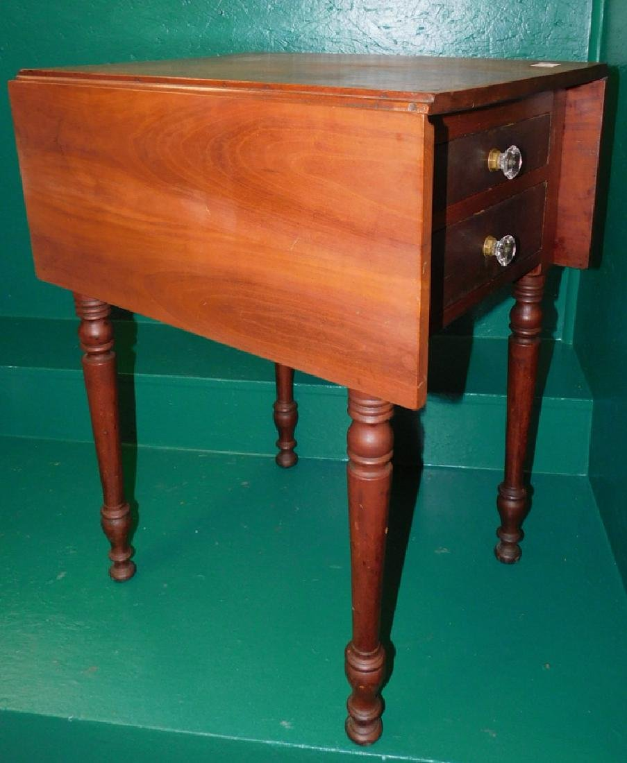 Cherry Drop Leaf Two Drawer Sheraton Night Stand