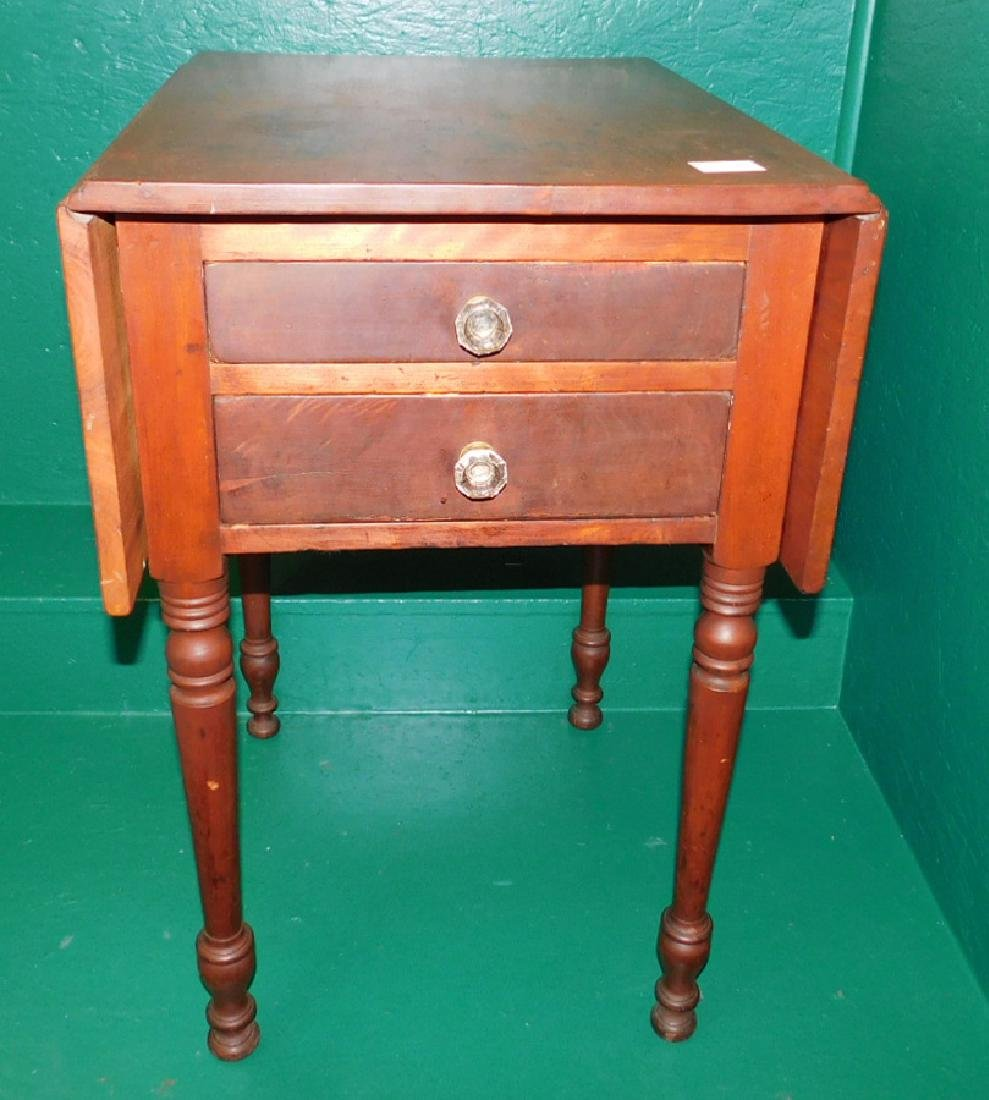 Cherry Drop Leaf Two Drawer Sheraton Night Stand - 2