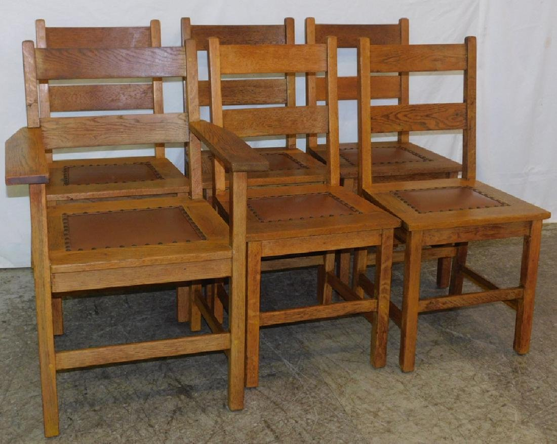 5 Mission Oak Side Chairs & 1 Arm Chair By Stickley