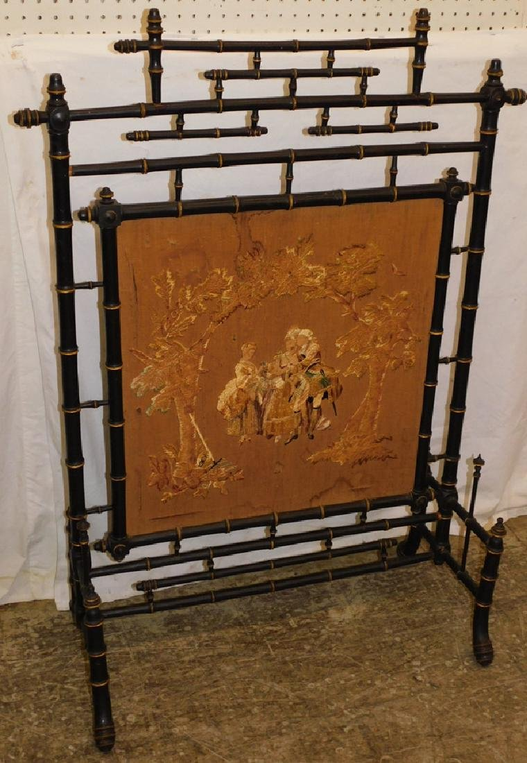 Black and Gold Faux Bamboo Needle Work Screen