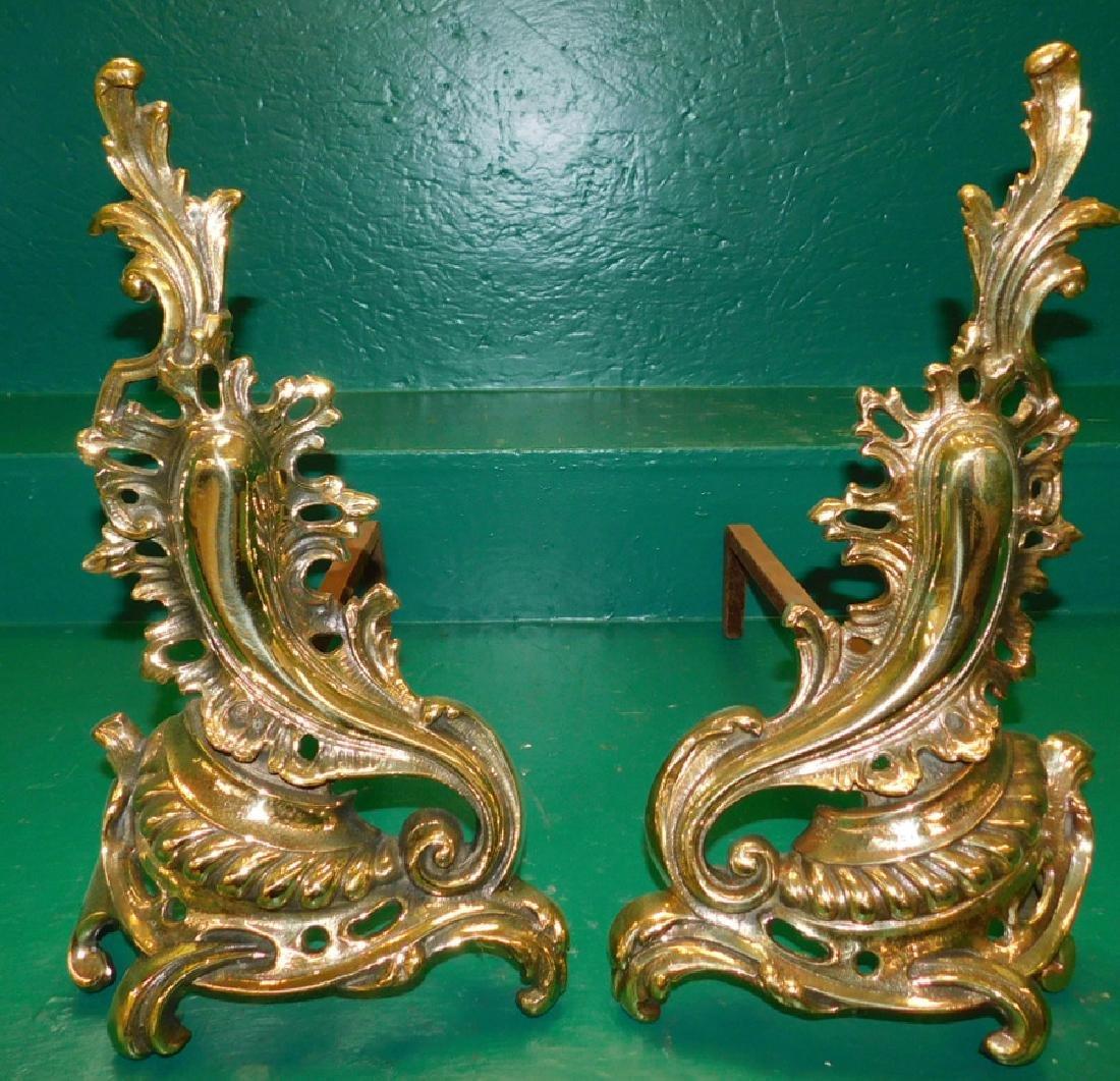 Pair Brass Chenets