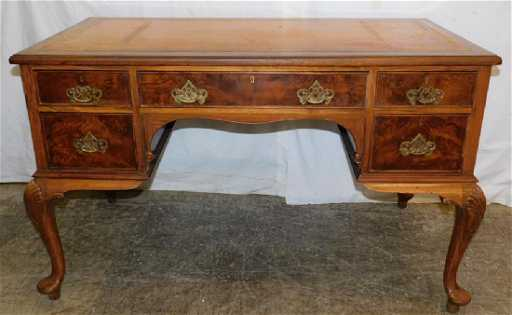 Queen Anne Desk >> Tooled Leather Top Walnut Queen Anne Desk