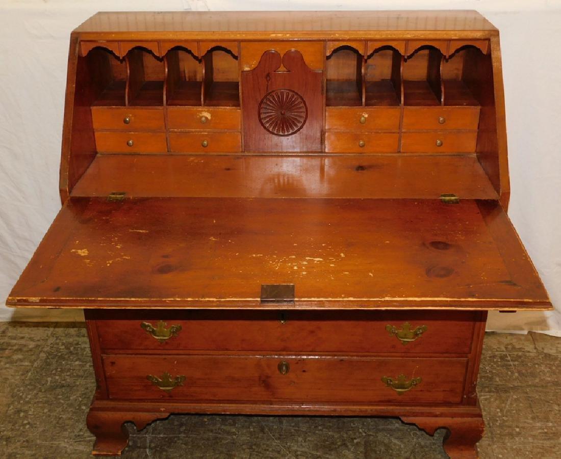 19th C Pennsylvania White Pine Slant Front Desk - 2