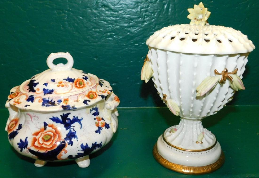 Two 19th C English Covered Jars