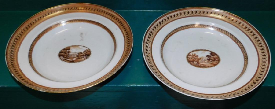 Pair 18th C Export Plates