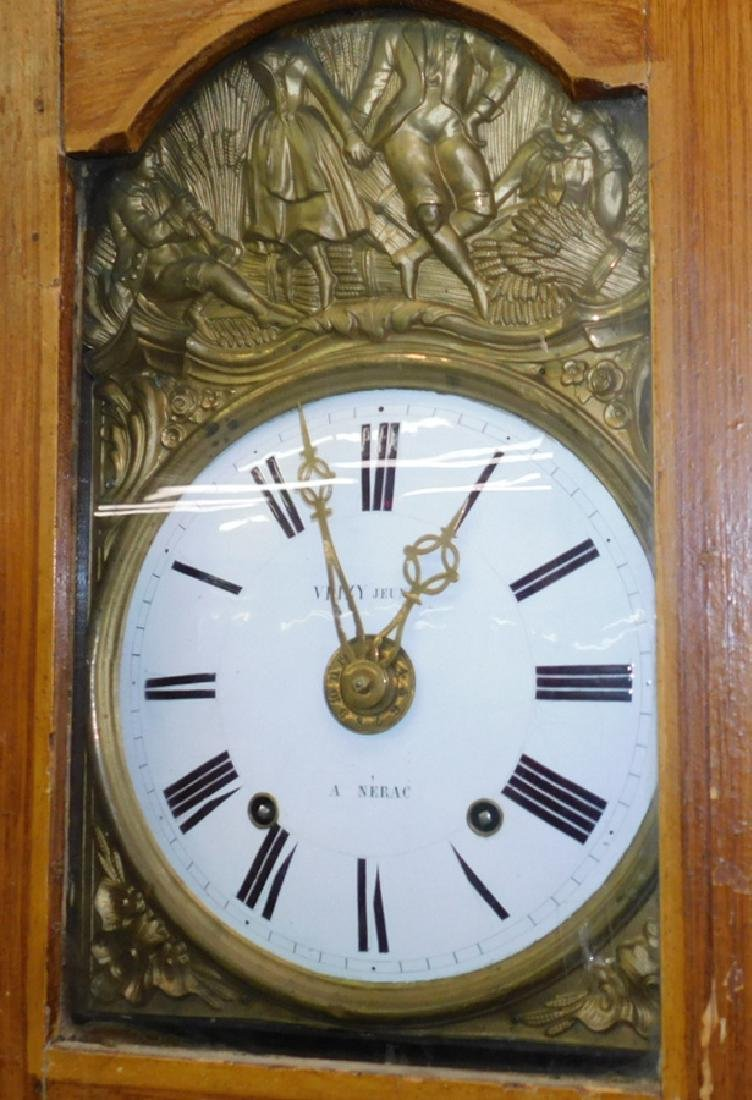 Fr Grain Painted Wag On The Wall G/father Clock - 2