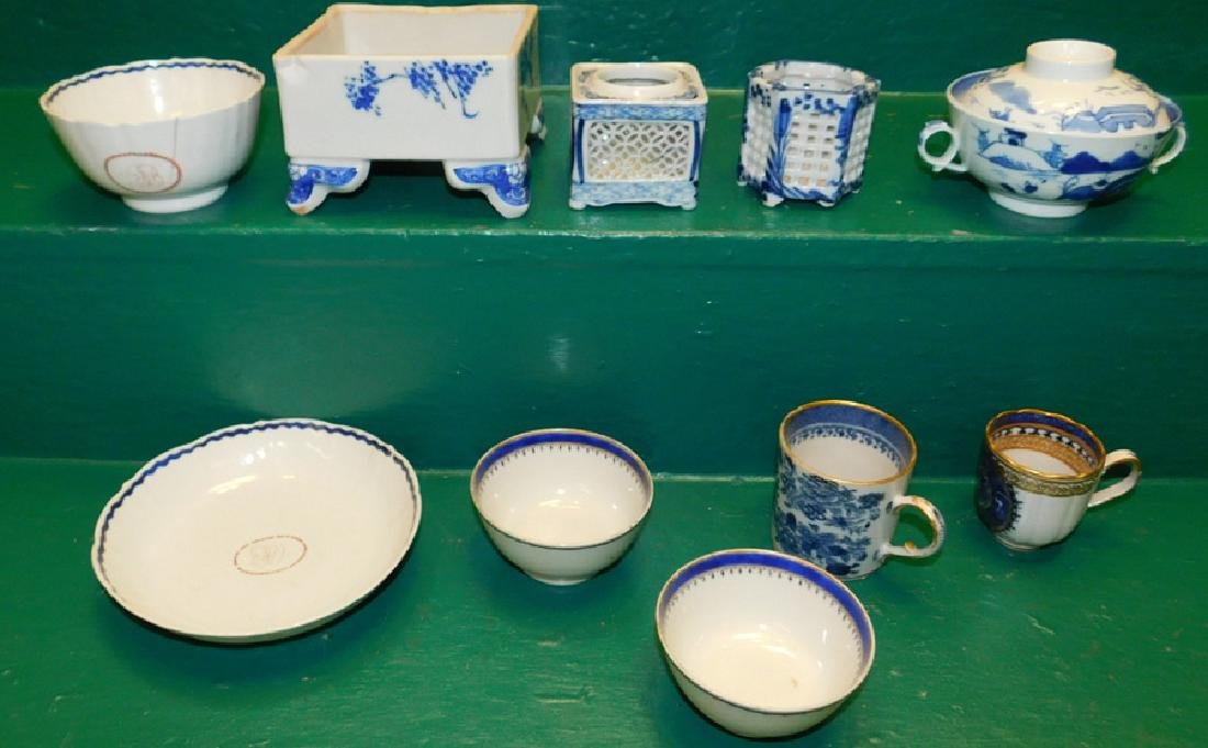 11 Pieces Blue & White Chinese Export Porcelain