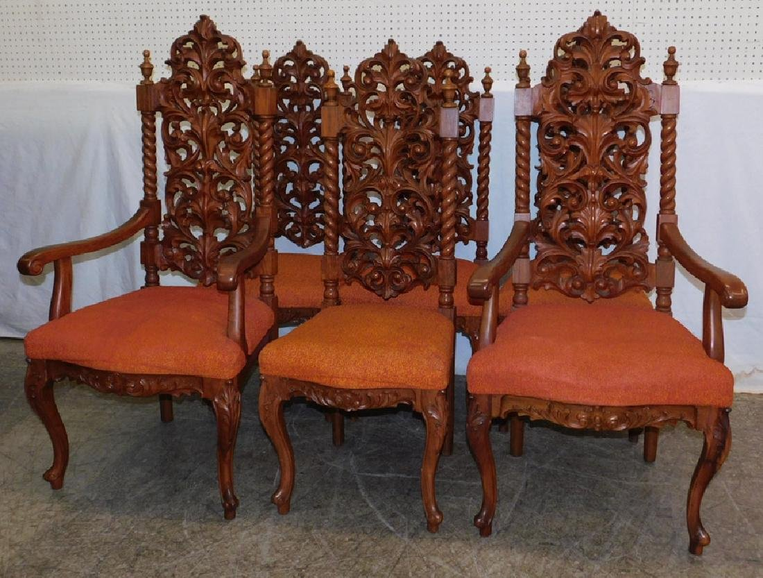 Set 6 Carved Walnut Rococo Dining Chairs