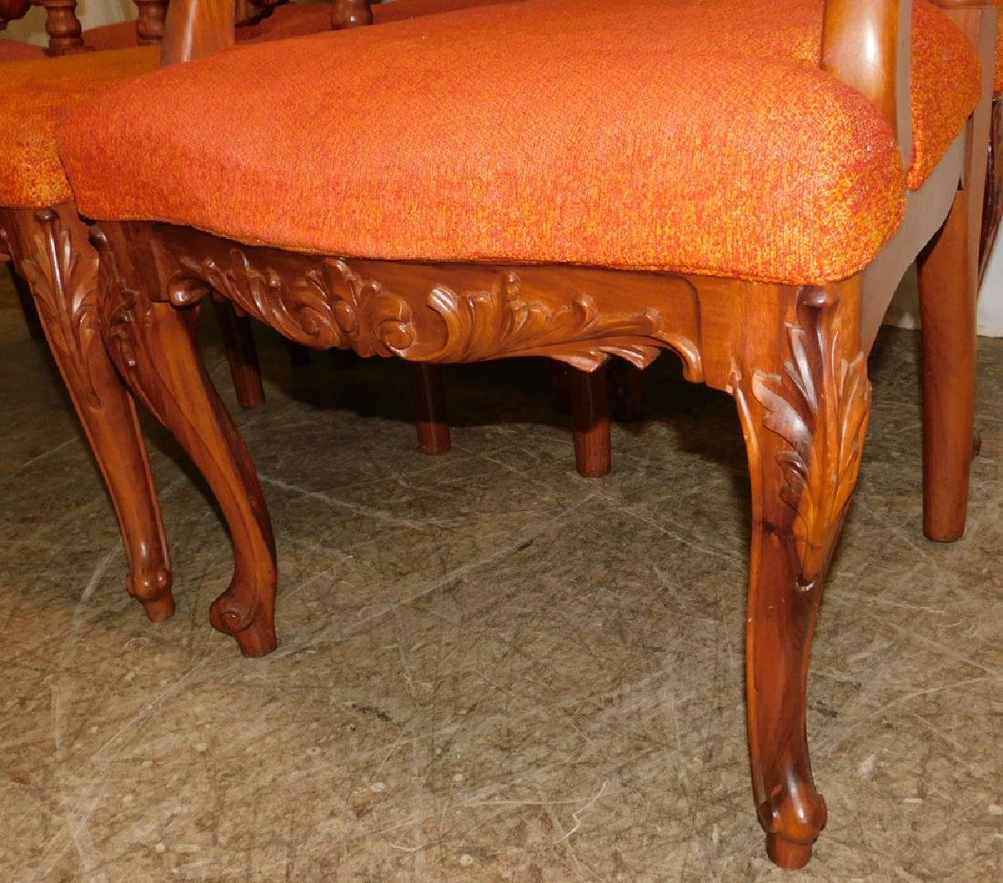 Set 6 Carved Walnut Rococo Dining Chairs - 4