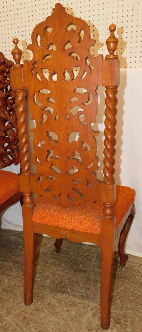 Set 6 Carved Walnut Rococo Dining Chairs - 5