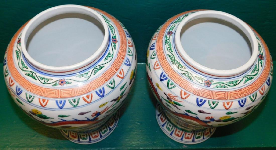 Pair Oriental Temple Jars w/ Six Character Marks - 4