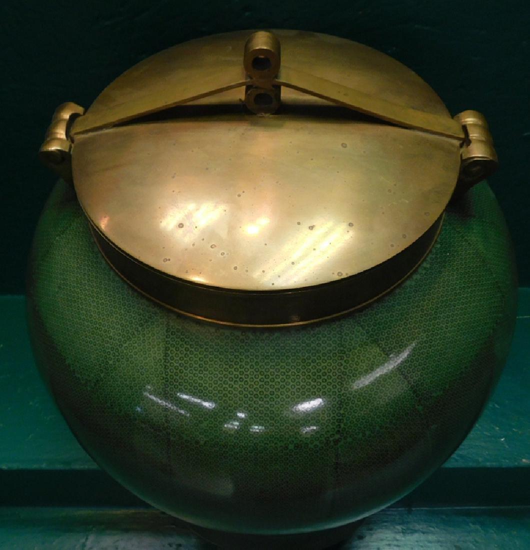 Faux Schregen Painted Temple Jar With Bronze Lid - 2