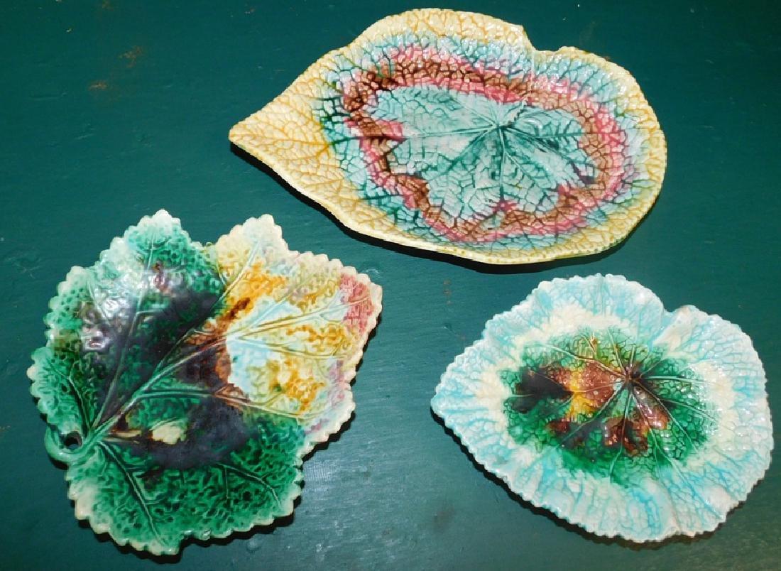 Three Majolica Leaf Dishes