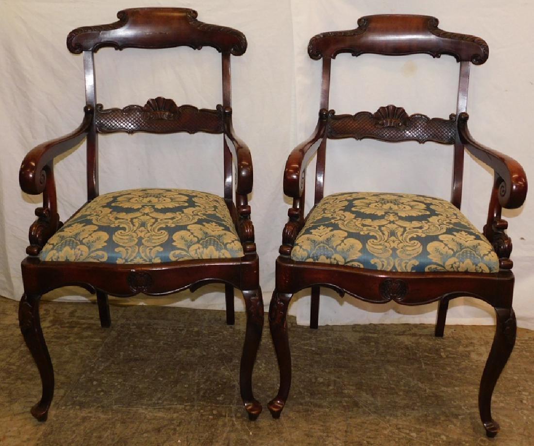 Pair Mahogany Regency Style Armchairs
