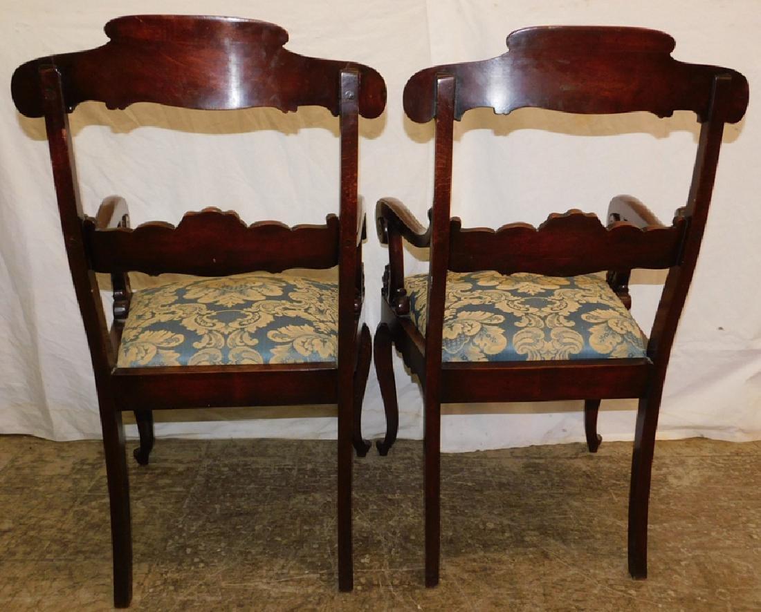 Pair Mahogany Regency Style Armchairs - 4