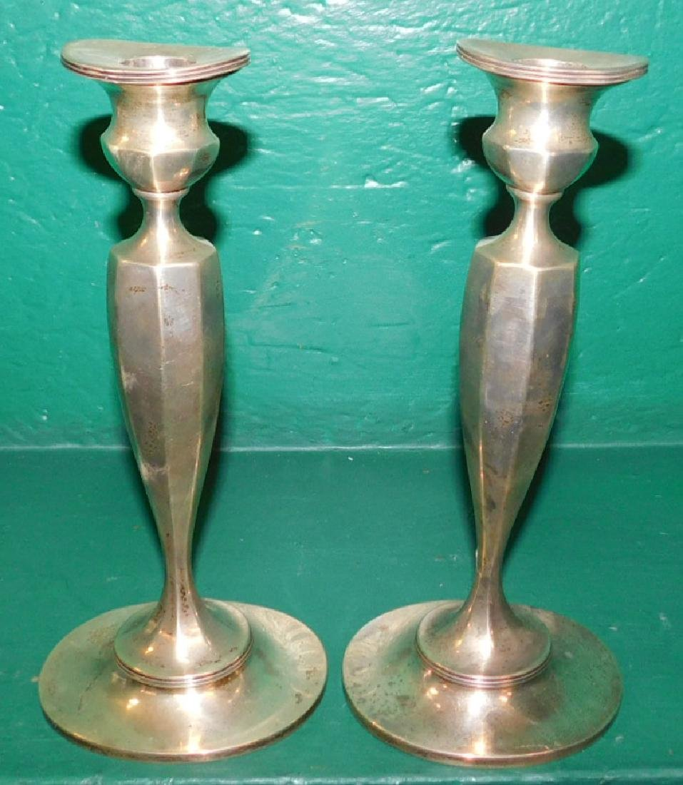 Pair Sterling Weighted Candlesticks By Cauldwell